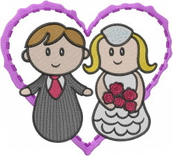 Marriage Heart embroidery design