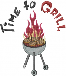 Time to Grill embroidery design