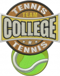 College Tennis embroidery design