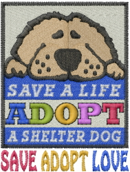 Save Adopt Love embroidery design