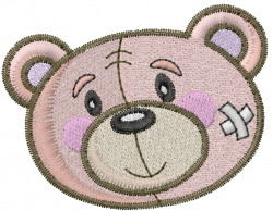 Get Well Bear Face embroidery design