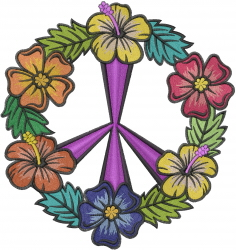 Peace Flower Symbol embroidery design