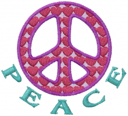 Peace Hearts embroidery design