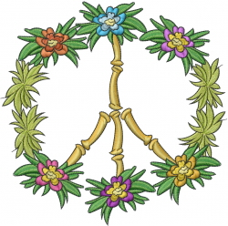 Peace Tropical embroidery design