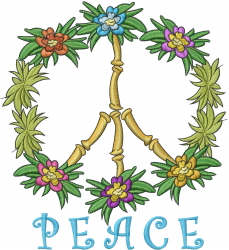 Tropical Peace embroidery design