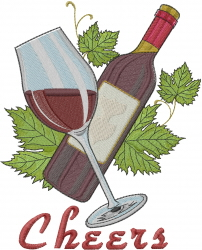 Wine Cheers embroidery design