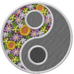 Floral Yin-Yang embroidery design