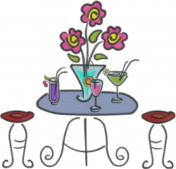 Cafe Table embroidery design