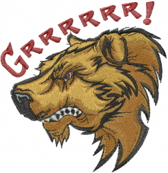 Grizzly Bear Head embroidery design