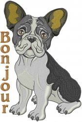 Bonjour Bulldog embroidery design