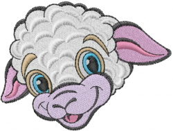 Little Lamb Head embroidery design