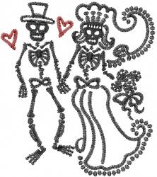 Skeleton Wedding embroidery design