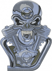 Skull Engine embroidery design