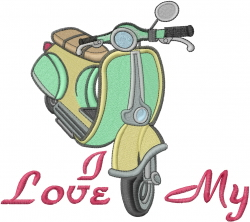 Love My Scooter embroidery design