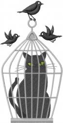 Birdcage Cat embroidery design