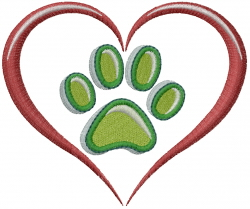 Dog Love Paw embroidery design