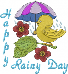 Happy Rainy Day embroidery design