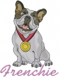 Frenchie Bulldog embroidery design