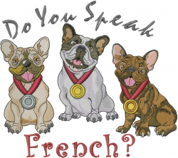 Speak French Dogs embroidery design