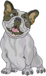 French Bulldog embroidery design