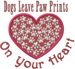 Dog Prints Heart embroidery design