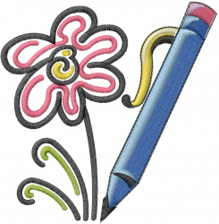 Pencil Art Flower embroidery design