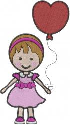 Heart Balloon Girl embroidery design