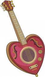 Valentine Guitar embroidery design