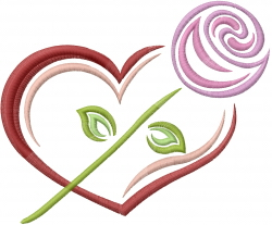 Valentine Rose Heart embroidery design