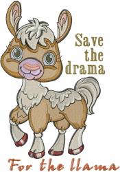 Drama Llama embroidery design