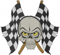 Skull Checker Flag embroidery design