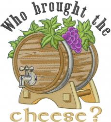 Wine Cheese embroidery design