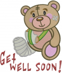 Get Well Soon Teddy embroidery design