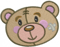 Injury Teddy Head embroidery design