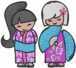 Asian Kimono Dolls embroidery design