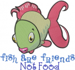 Friends Not Food embroidery design