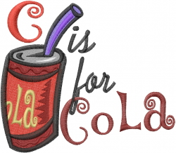 C for Cola embroidery design