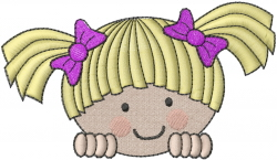 Looking Little Girl embroidery design