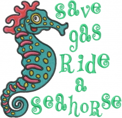 Save Gas embroidery design