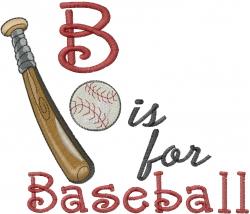 B for Baseball embroidery design