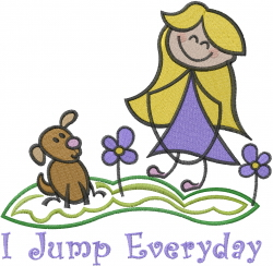 I Jump Everyday embroidery design