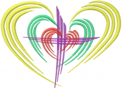 Love Christian Cross embroidery design