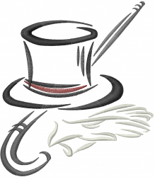 Magic Top Hat embroidery design