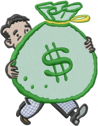 Money Bag Man embroidery design