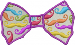 Mustache Bowtie embroidery design