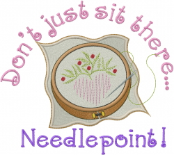 Sit Needlepoint embroidery design