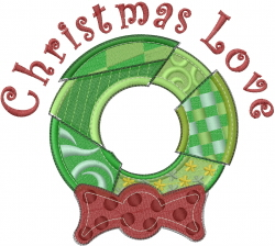 Christmas Love Wreath embroidery design