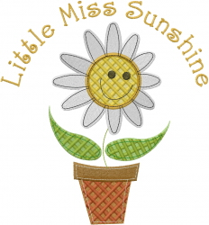 Little Miss Sunshine embroidery design