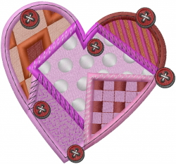 Patchwork Valentine Heart embroidery design