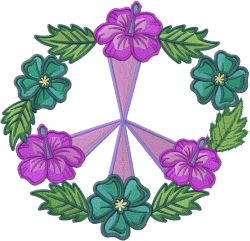 Flowers Peace Sign embroidery design